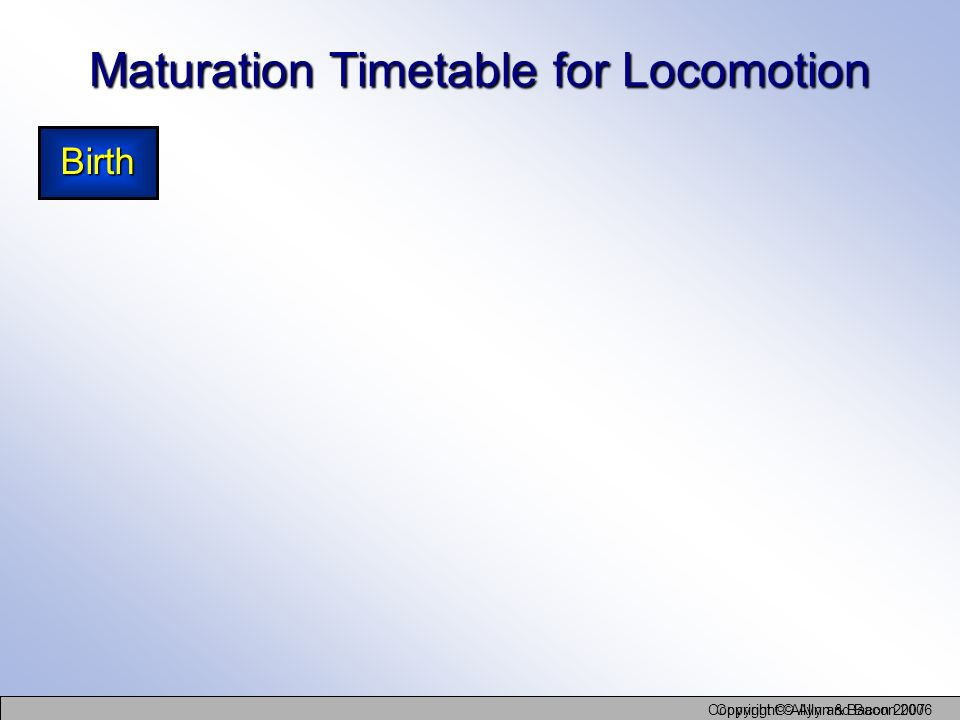 Copyright © Allyn and Bacon 2006 Copyright © Allyn & Bacon 2007 Maturation Timetable for Locomotion Birth