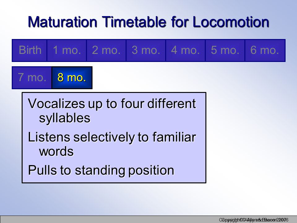Copyright © Allyn and Bacon 2006 Copyright © Allyn & Bacon 2007 Maturation Timetable for Locomotion Vocalizes up to four different syllables Listens s