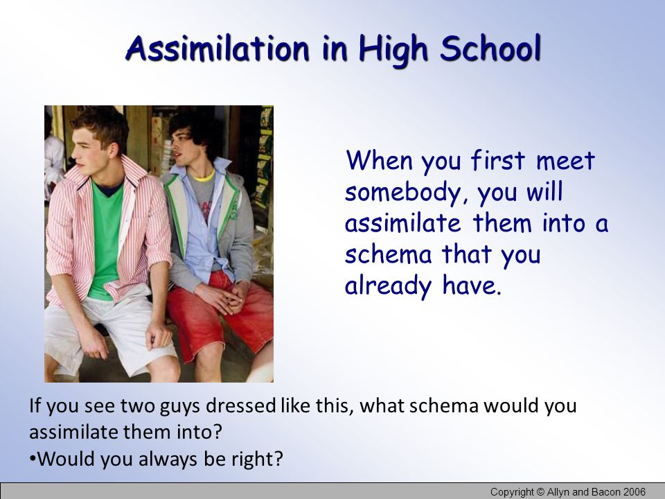 Copyright © Allyn and Bacon 2006 Assimilation in High School When you first meet somebody, you will assimilate them into a schema that you already hav