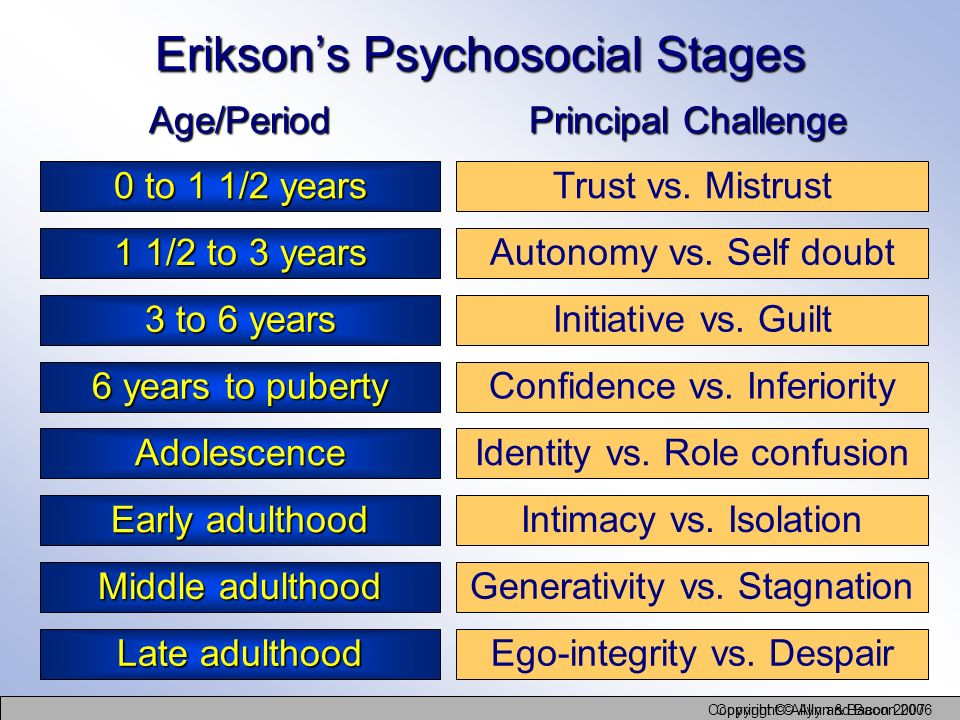 Copyright © Allyn and Bacon 2006 Copyright © Allyn & Bacon 2007 Eriksons Psychosocial Stages Age/Period Principal Challenge 0 to 1 1/2 years Trust vs.