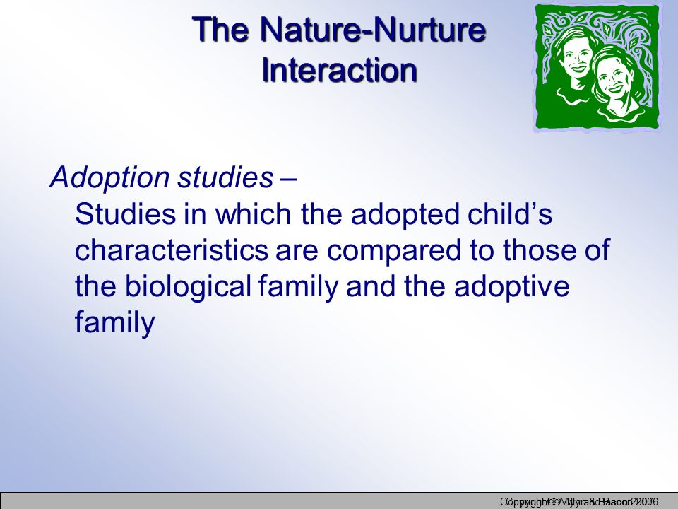 Copyright © Allyn and Bacon 2006 Copyright © Allyn & Bacon 2007 The Nature-Nurture Interaction Adoption studies – Studies in which the adopted childs