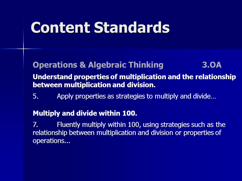 Content Standards Operations & Algebraic Thinking3.OA Understand properties of multiplication and the relationship between multiplication and division.