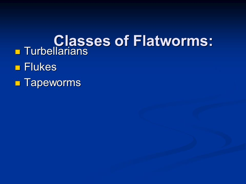 Classes of Flatworms: Turbellarians Turbellarians Flukes Flukes Tapeworms Tapeworms