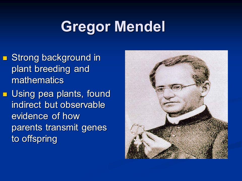 Gregor Mendel Gregor Mendel Strong background in plant breeding and mathematics Strong background in plant breeding and mathematics Using pea plants,
