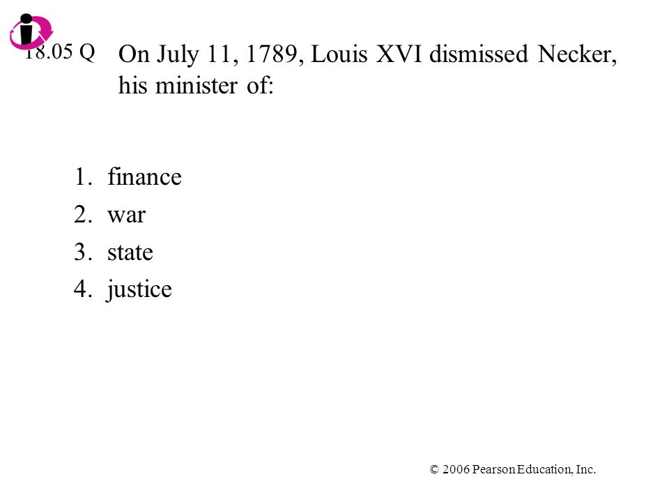 © 2006 Pearson Education, Inc. On July 11, 1789, Louis XVI dismissed Necker, his minister of: 1.finance 2.war 3.state 4.justice 18.05 Q