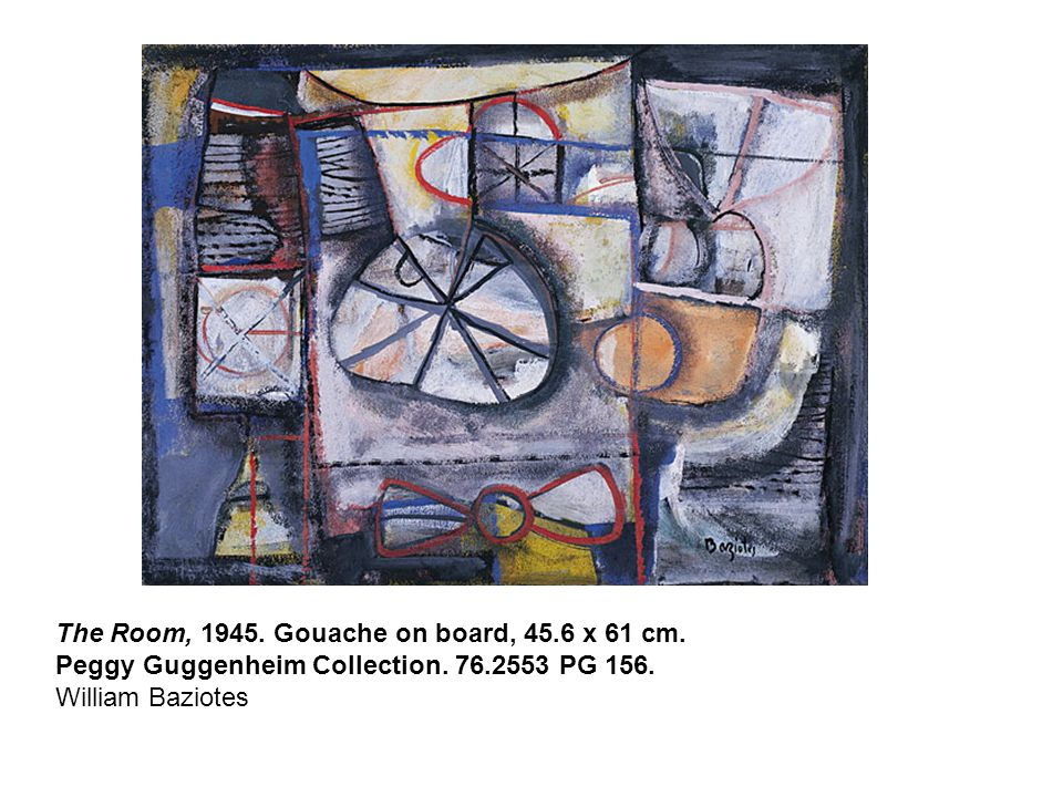 The Room, 1945. Gouache on board, 45.6 x 61 cm. Peggy Guggenheim Collection.