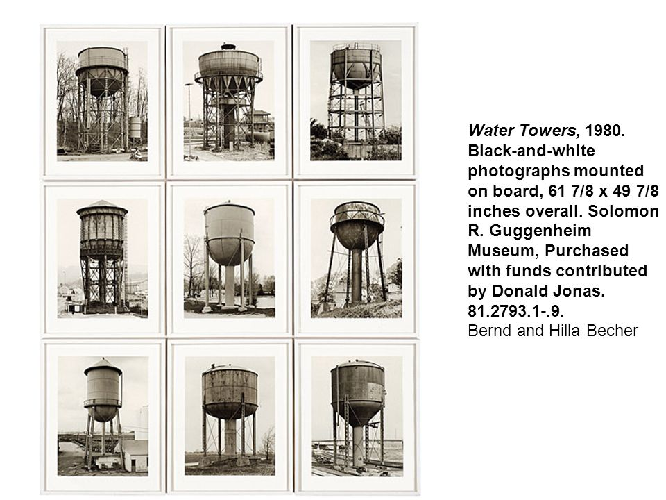 Water Towers, 1980. Black-and-white photographs mounted on board, 61 7/8 x 49 7/8 inches overall.