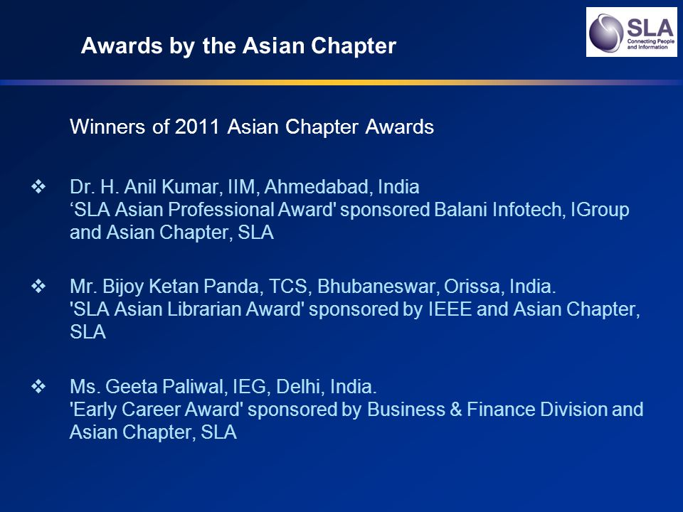 Awards by the Asian Chapter Winners of 2011 Asian Chapter Awards Dr.