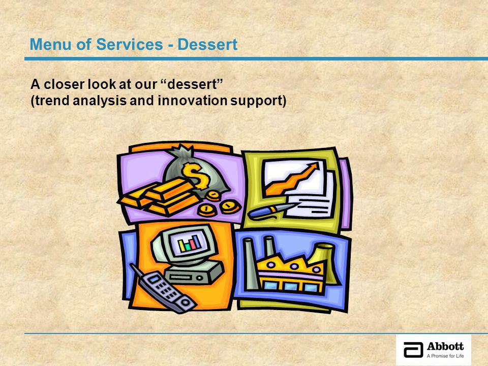A closer look at our dessert (trend analysis and innovation support) Menu of Services - Dessert