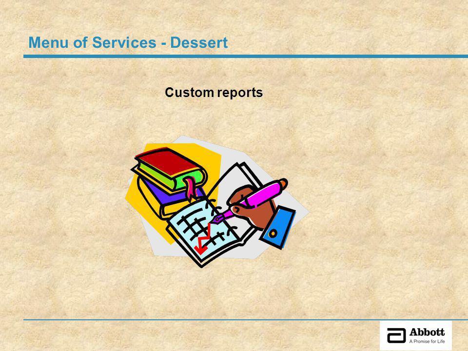 Custom reports Menu of Services - Dessert