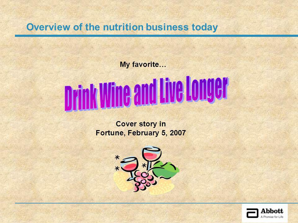 My favorite… Cover story in Fortune, February 5, 2007 Overview of the nutrition business today