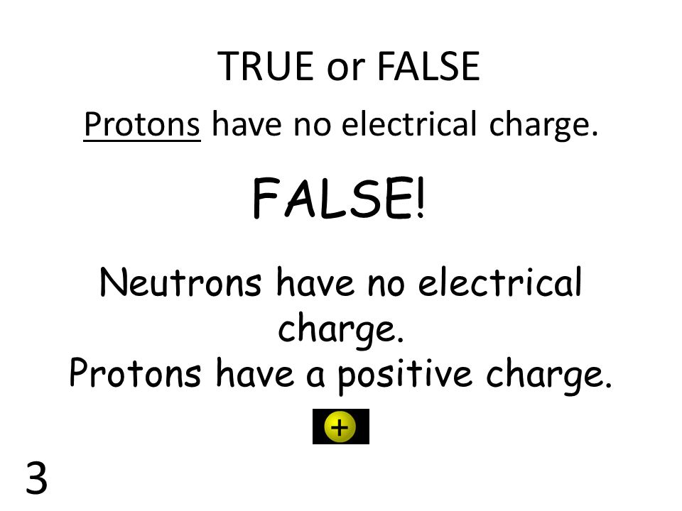 TRUE or FALSE Protons have no electrical charge. FALSE! Neutrons have no electrical charge. Protons have a positive charge. 3