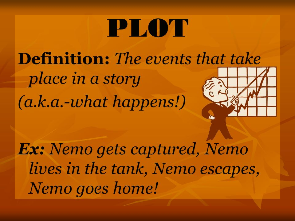 PLOT Definition: The events that take place in a story (a.k.a.-what happens!) Ex: Nemo gets captured, Nemo lives in the tank, Nemo escapes, Nemo goes home!