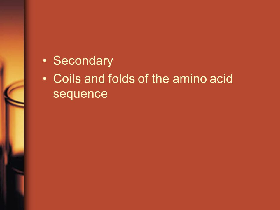 Secondary Coils and folds of the amino acid sequence