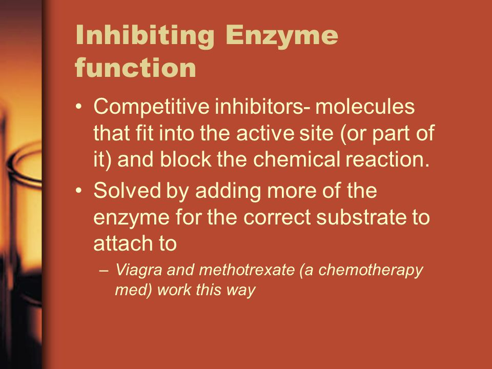 Inhibiting Enzyme function Competitive inhibitors- molecules that fit into the active site (or part of it) and block the chemical reaction.
