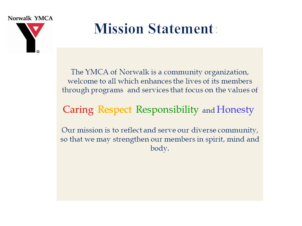 Background YMCA CEO active in Norwalk ACTs and OST (Outside School Time) sub- committee Committed to making the YMCA SACC and Pre-school programs the model of excellence; tie enrichment/curriculum to better classroom performance Assessment commissioned in May 2010 S urveys designed for Principals, Parents and children participants Results Strong desire from Principals and parents in each school to have access to additional enrichment programs C ontent of desired programs varied by school