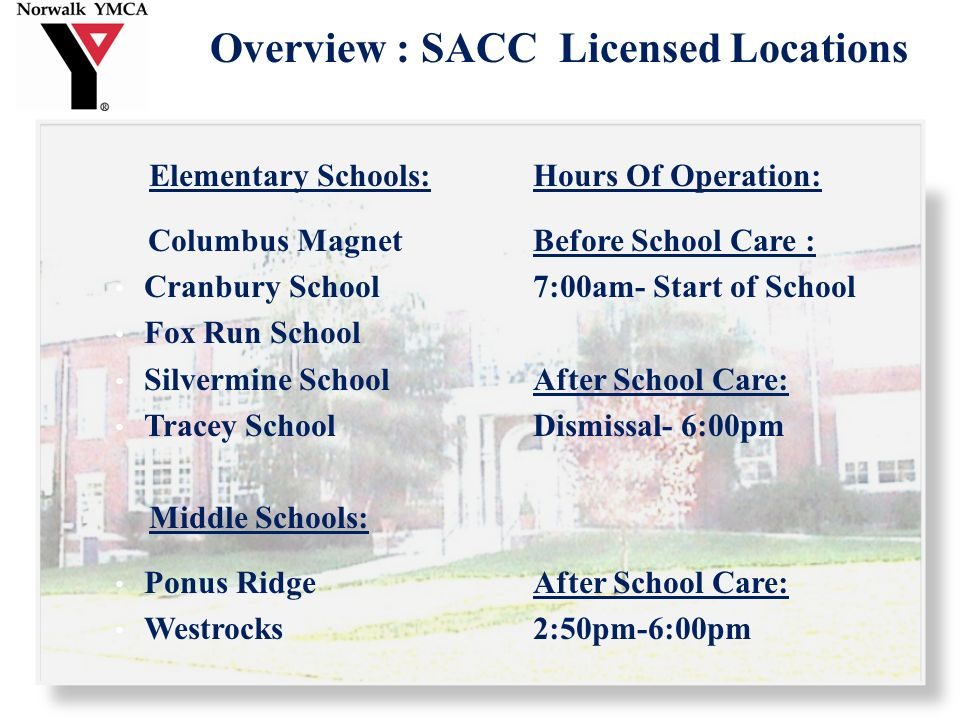 Overview : SACC Daily Schedule 3:00-3:15Attendance/Check In 3:15-3:45Homework 3:45-4:00Wash Hands/ Bathroom Break 4:00-4:15Snack 4:15-4:30Clean up Time 4:30-5:00Academic Enrichment 5:00-5:30Structured Recreational Activities 5:30-6:00Student Choice (i.e.