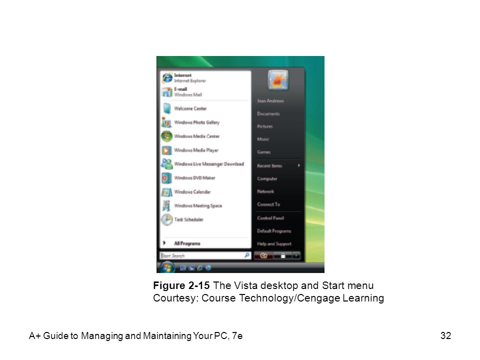 A+ Guide to Managing and Maintaining Your PC, 7e32 Figure 2-15 The Vista desktop and Start menu Courtesy: Course Technology/Cengage Learning