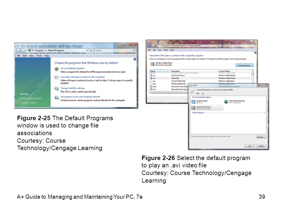 A+ Guide to Managing and Maintaining Your PC, 7e39 Figure 2-25 The Default Programs window is used to change file associations Courtesy: Course Techno