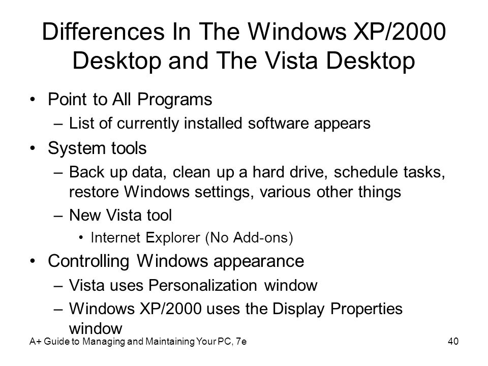 Differences In The Windows XP/2000 Desktop and The Vista Desktop Point to All Programs –List of currently installed software appears System tools –Bac