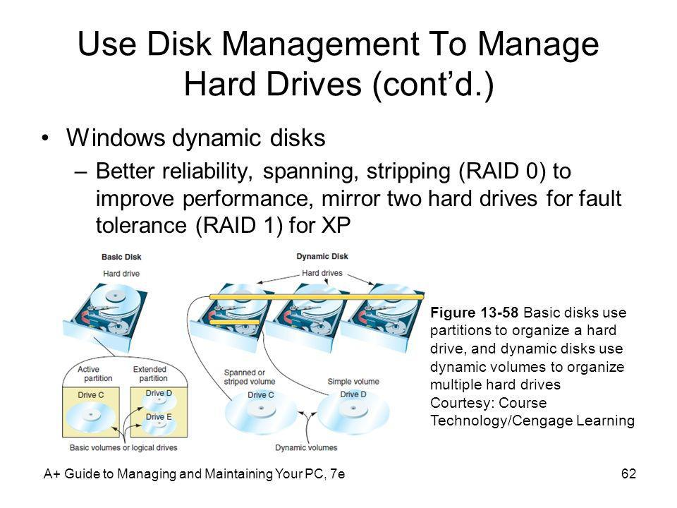 Use Disk Management To Manage Hard Drives (contd.) Windows dynamic disks –Better reliability, spanning, stripping (RAID 0) to improve performance, mir
