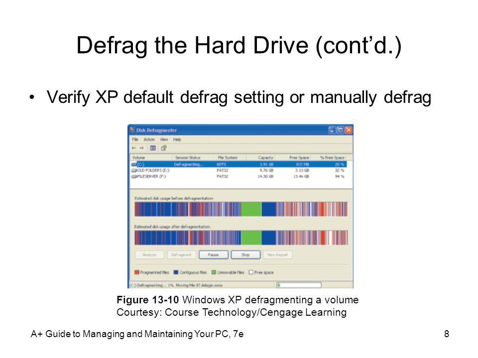 A+ Guide to Managing and Maintaining Your PC, 7e8 Defrag the Hard Drive (contd.) Verify XP default defrag setting or manually defrag Figure 13-10 Wind