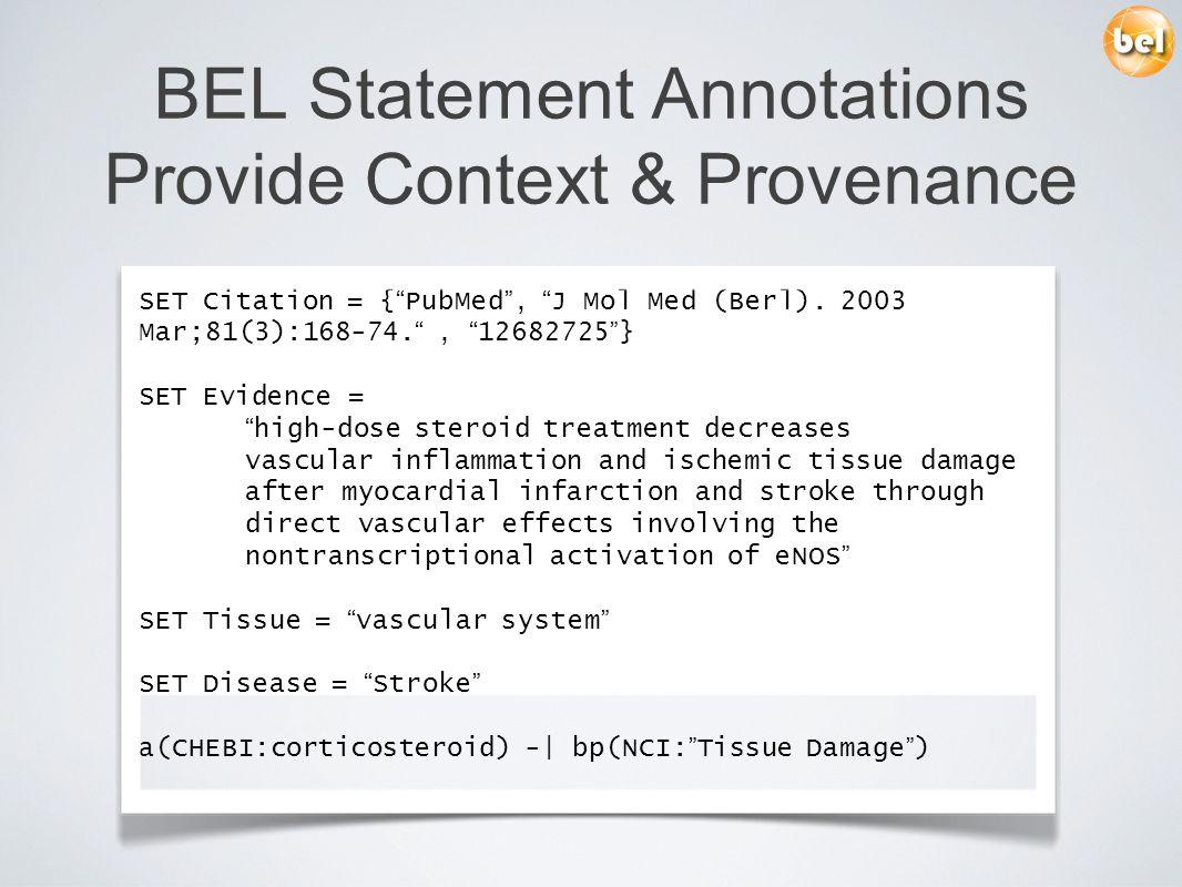 BEL Statement Annotations Provide Context & Provenance SET Citation = { PubMed, J Mol Med (Berl). 2003 Mar;81(3):168-74., 12682725 } SET Evidence = hi