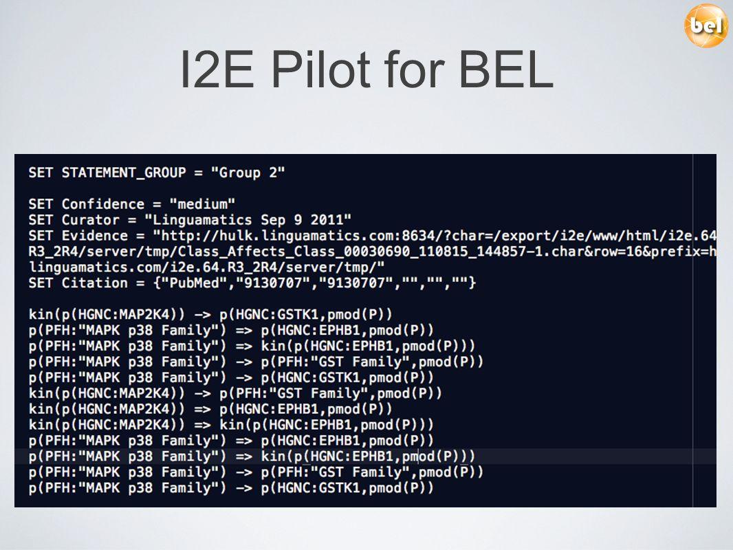 I2E Pilot for BEL