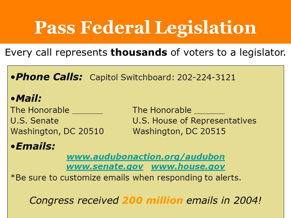 Pass Federal Legislation Phone Calls: Capitol Switchboard: Mail: The Honorable ______ U.S.