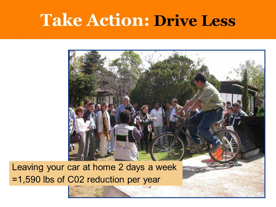 Drive Less; Buy Better Cars Take Action: Drive Less Leaving your car at home 2 days a week =1,590 lbs of C02 reduction per year