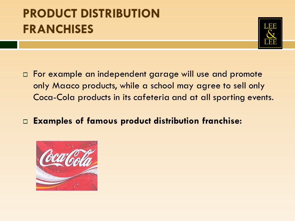 For example an independent garage will use and promote only Maaco products, while a school may agree to sell only Coca-Cola products in its cafeteria