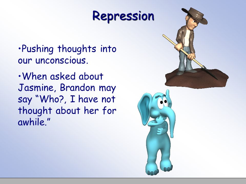 Repression Pushing thoughts into our unconscious. When asked about Jasmine, Brandon may say Who?, I have not thought about her for awhile.
