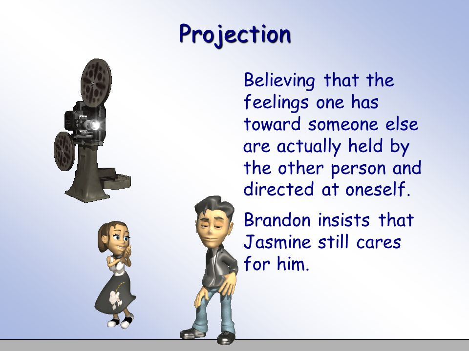 Projection Believing that the feelings one has toward someone else are actually held by the other person and directed at oneself.