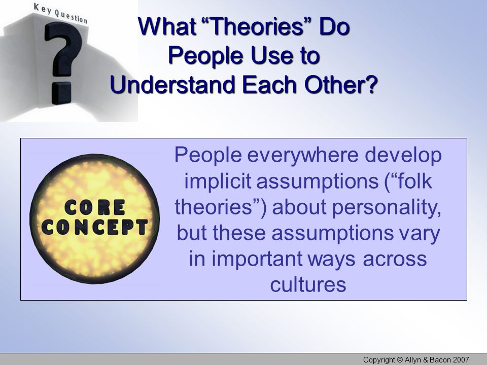 Copyright © Allyn & Bacon 2007 What Theories Do People Use to Understand Each Other.