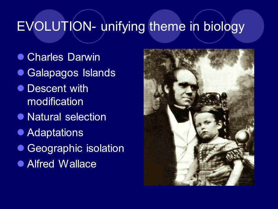 EVOLUTION- unifying theme in biology Charles Darwin Galapagos Islands Descent with modification Natural selection Adaptations Geographic isolation Alf