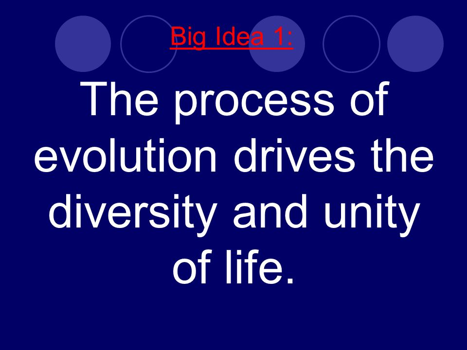 Big Idea 1: The process of evolution drives the diversity and unity of life.