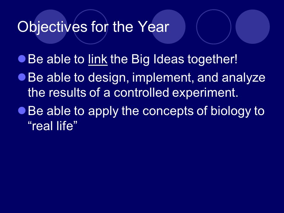 Objectives for the Year Be able to link the Big Ideas together! Be able to design, implement, and analyze the results of a controlled experiment. Be a