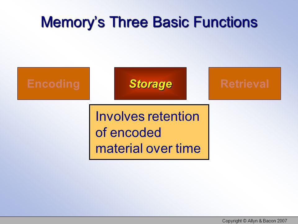Copyright © Allyn & Bacon 2007 EncodingStorageRetrieval Involves retention of encoded material over time Memorys Three Basic Functions
