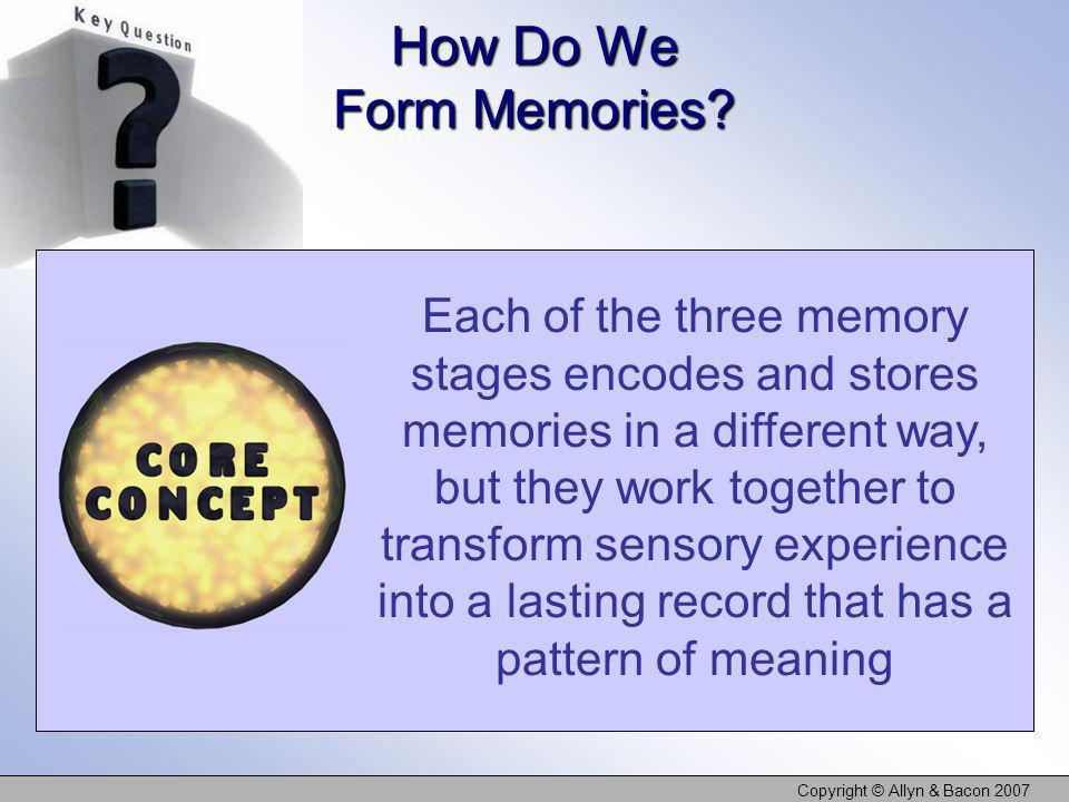 Copyright © Allyn & Bacon 2007 Each of the three memory stages encodes and stores memories in a different way, but they work together to transform sen