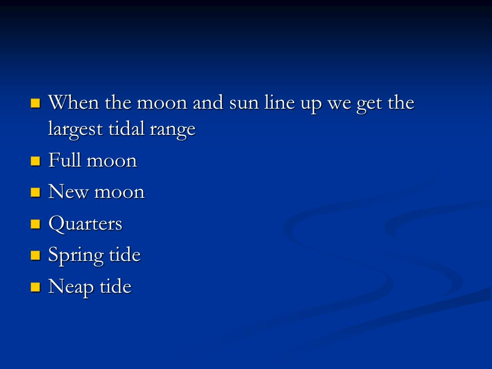 When the moon and sun line up we get the largest tidal range When the moon and sun line up we get the largest tidal range Full moon Full moon New moon