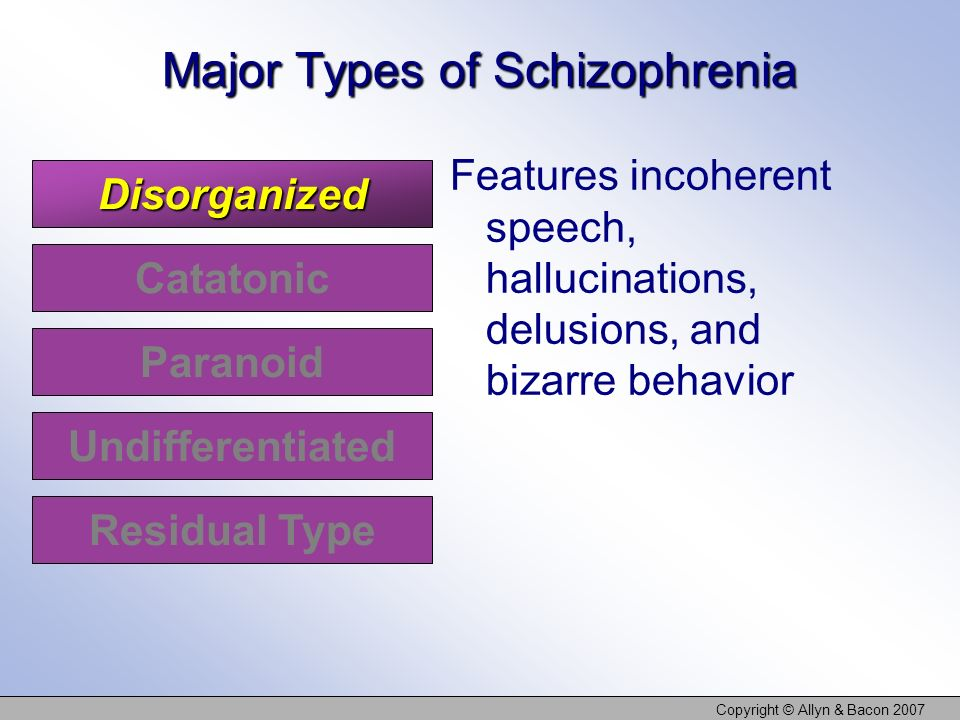 Copyright © Allyn & Bacon 2007 Disorganized Catatonic Paranoid Undifferentiated Major Types of Schizophrenia Features incoherent speech, hallucination