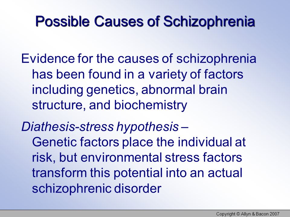 Copyright © Allyn & Bacon 2007 Possible Causes of Schizophrenia Evidence for the causes of schizophrenia has been found in a variety of factors includ
