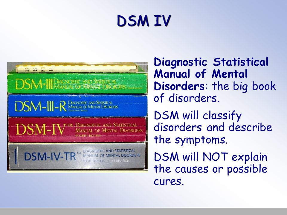 DSM IV Diagnostic Statistical Manual of Mental Disorders: the big book of disorders. DSM will classify disorders and describe the symptoms. DSM will N