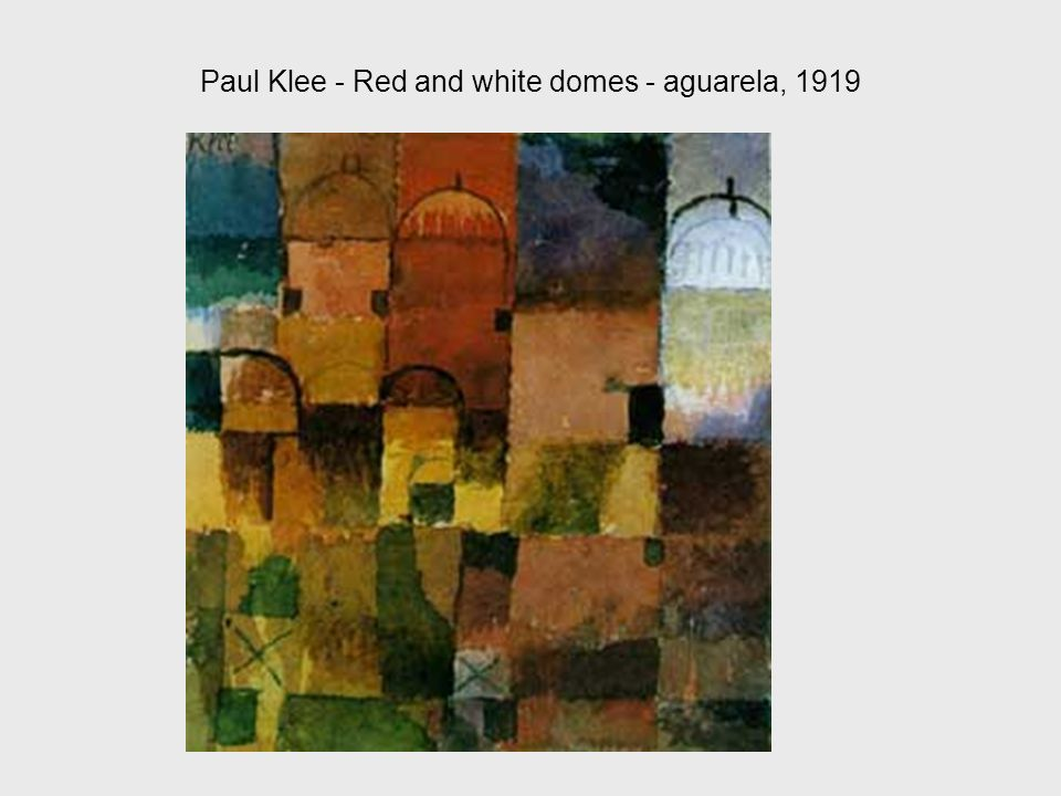 Paul Klee - Red and white domes - aguarela, 1919