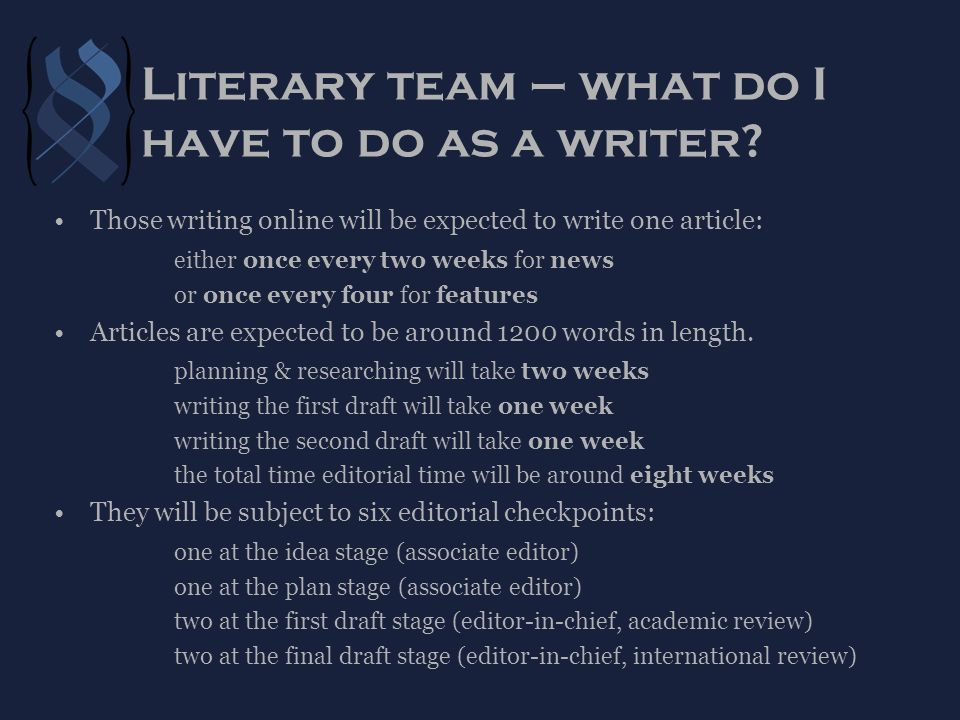 Literary team – what do I have to do as an editor.