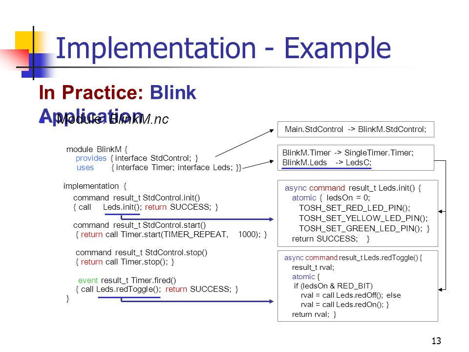 13 Implementation - Example In Practice: Blink Application Module: BlinkM.nc module BlinkM { provides { interface StdControl; } uses { interface Timer; interface Leds; }} implementation { command result_t StdControl.init() { call Leds.init(); return SUCCESS; } command result_t StdControl.start() { return call Timer.start(TIMER_REPEAT, 1000); } command result_t StdControl.stop() { return call Timer.stop(); } event result_t Timer.fired() { call Leds.redToggle(); return SUCCESS; } } Main.StdControl -> BlinkM.StdControl;BlinkM.Timer -> SingleTimer.Timer; BlinkM.Leds -> LedsC; async command result_t Leds.init() { atomic { ledsOn = 0; TOSH_SET_RED_LED_PIN(); TOSH_SET_YELLOW_LED_PIN(); TOSH_SET_GREEN_LED_PIN(); } return SUCCESS; } async command result_t Leds.redToggle() { result_t rval; atomic { if (ledsOn & RED_BIT) rval = call Leds.redOff(); else rval = call Leds.redOn(); } return rval; }