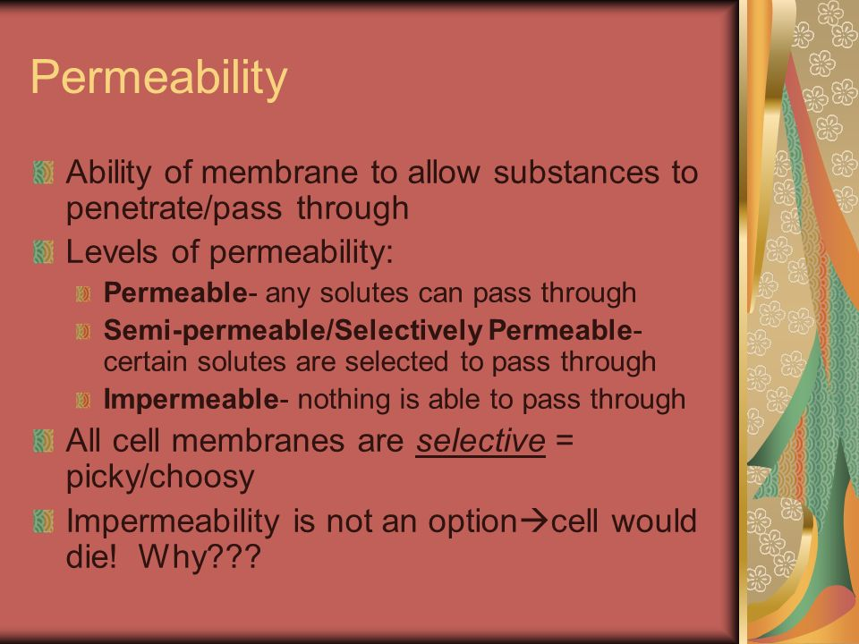 Permeability Ability of membrane to allow substances to penetrate/pass through Levels of permeability: Permeable- any solutes can pass through Semi-pe
