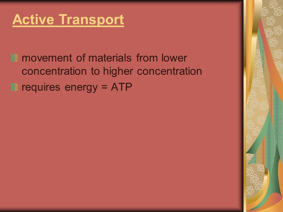 Active Transport movement of materials from lower concentration to higher concentration requires energy = ATP