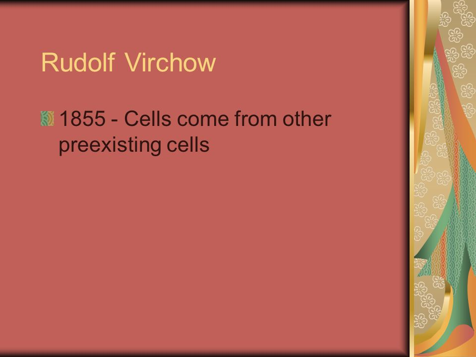 Rudolf Virchow 1855 - Cells come from other preexisting cells