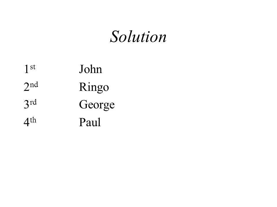 Solution 1 st John 2 nd Ringo 3 rd George 4 th Paul